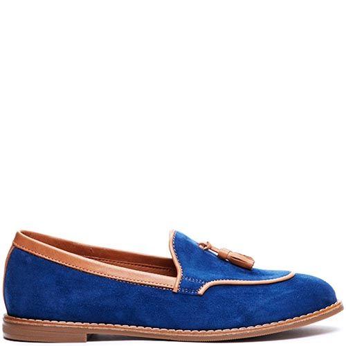 Замшевые лоферы синего цвета Modus Vivendi с коричневыми кожаными кисточками, фото