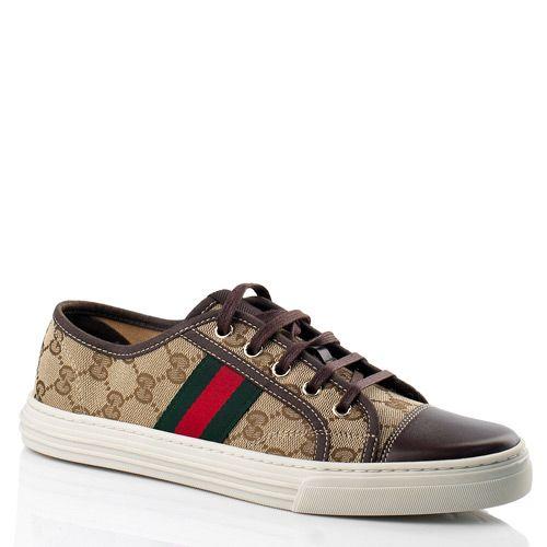 Кеды Gucci с фирменной расцветкой в сочетании кожи и текстиля, фото