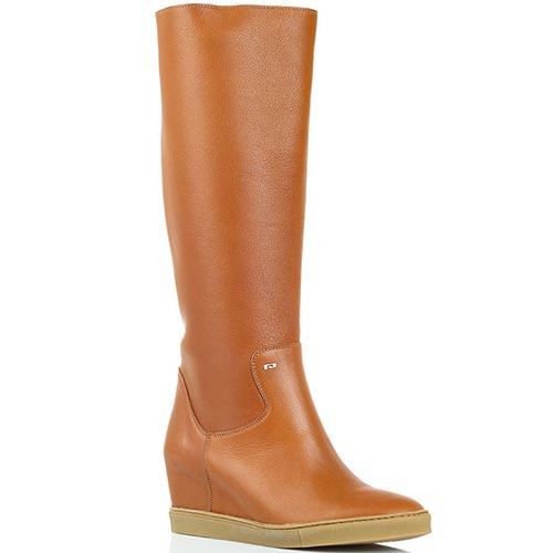 Высокие кожаные сапоги коричневого цвета Pakerson на танкетке, фото
