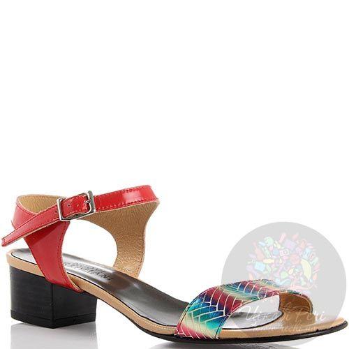 Кожаные босоножки Nuovi Artigiani кораллового цвета с разноцветным носочком, фото