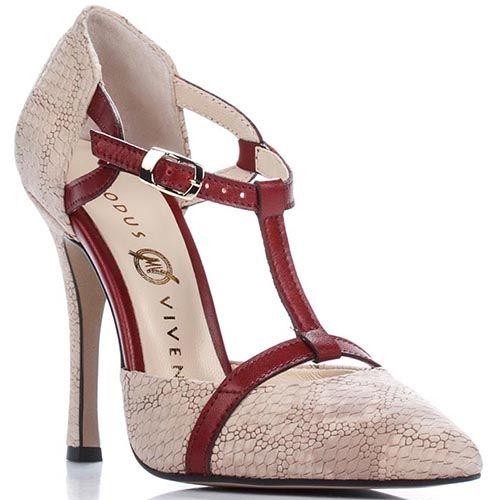 Открытые туфли Modus Vivendi бежевого цвета с бордовым декором, фото