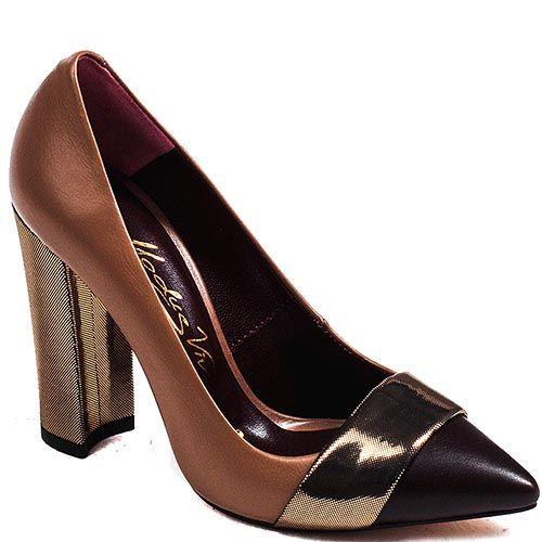 Женские туфли Modus Vivendi на устойчивом каблуке из сочетания кожи коричневого и черного цвета с отделкой из кожи с лазерной об, фото