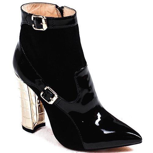Женские ботинки Modus Vivendi с зауженным носком на золотистом каблуке со вставками из лаковой кожи, фото