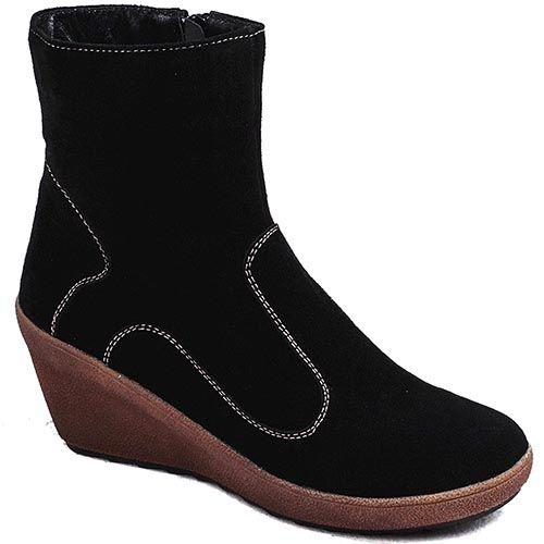 Зимние ботинки Modus Vivendi на платформе из замши черного цвета с декоративной строчкой, фото
