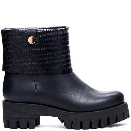 Кожаные ботинки черного цвета Modus Vivendi на толстой подошве и каблуке, фото