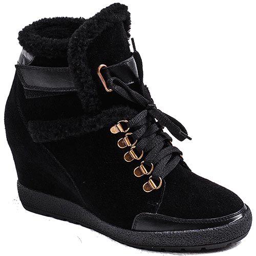 Женские зимние ботинки Modus Vivendi из натуральной замши черного цвета, фото