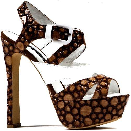 Босоножки Modus Vivendi на каблуке и скрытой платформе коричневого цвета, фото