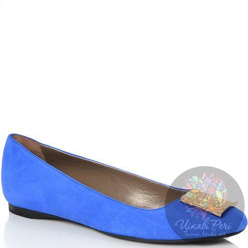 Балетки Versace Collection замшевые ярко-синие, фото