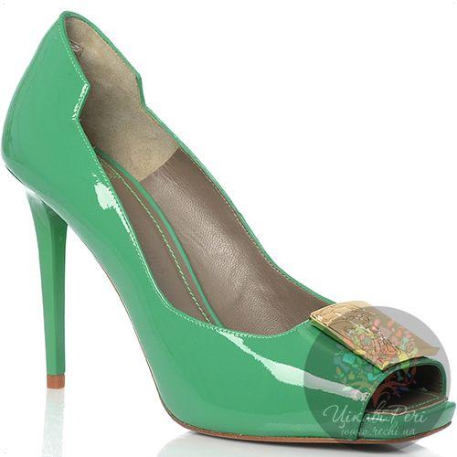 Туфли Versace Collection на шпильке кожаные лаковые зеленые, фото