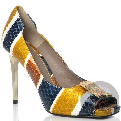 Туфли Versace Collection на шпильке кожаные с чешуйчатой фактурой с цветными полосами, фото