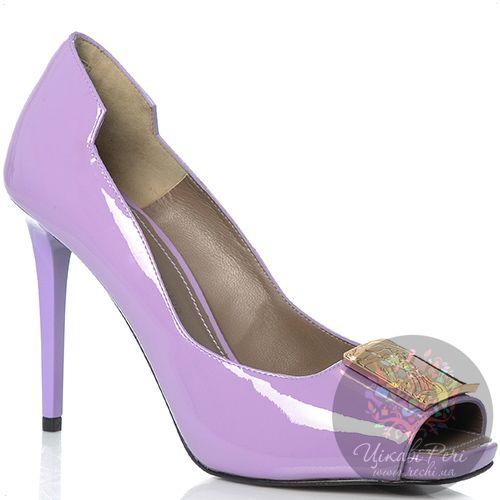 Туфли Versace Collection на шпильке кожаные лаковые сиреневые, фото