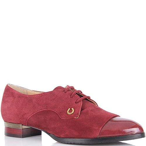 Женские туфли Pakerson из натуральной замши бордового цвета, фото