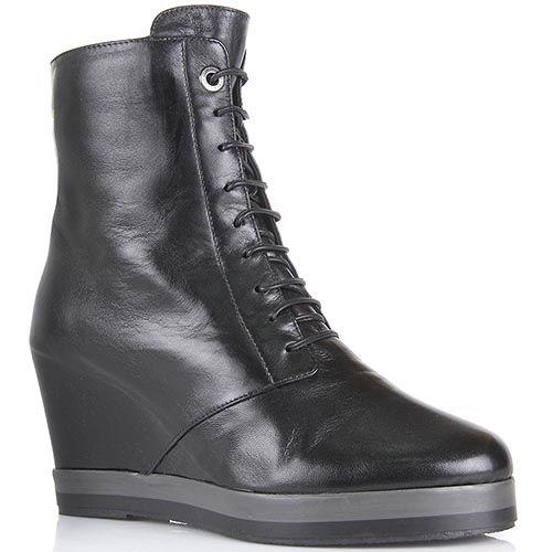 Ботинки Pakerson из натуральной кожи черного цвета на танкетке, фото