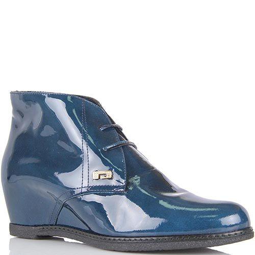 Ботинки Pakerson из лаковой кожи синего цвета на скрытой танкетке, фото