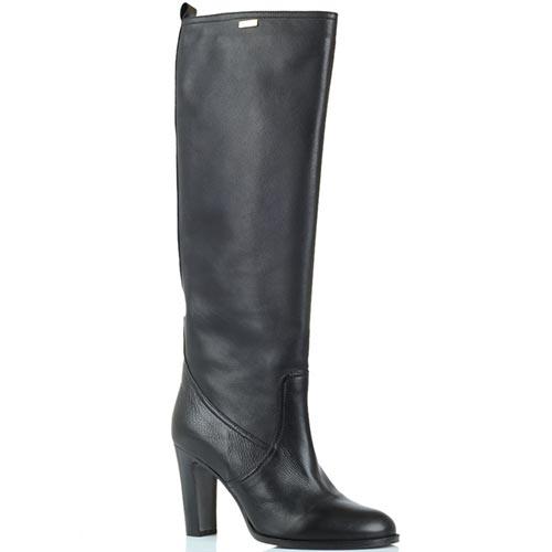 Сапоги кожаные черного цвета Renzi на толстом каблуке, фото