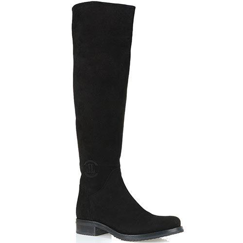 Замшевые ботфорты Loriblu на низком ходу с округлым носком, фото