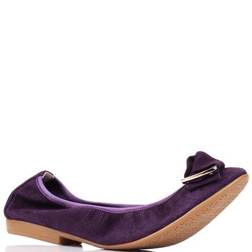 Замшевые балетки Renzi темно-фиолетового цвета, фото