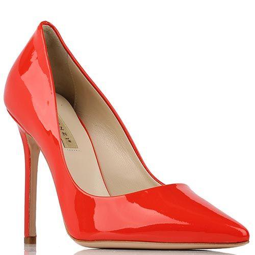 Туфли-лодочки Renzi из натуральной лаковой кожи красного цвета, фото