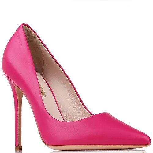 Туфли Renzi из кожи малинового цвета на высокой шпильке, фото