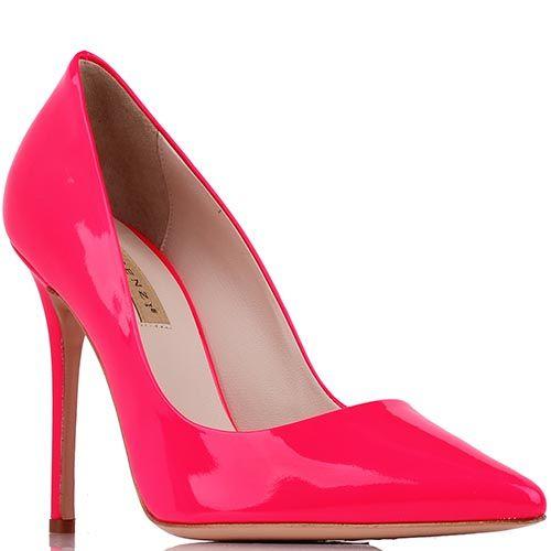 Туфли-лодочки Renzi из кожи малиново-красного цвета на высокой шпильке, фото