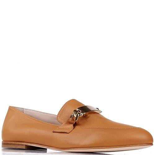 Туфли-лоферы Renzi из кожи коньячного цвета, фото