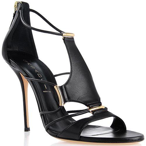 Босоножки Casadei черные с золотистыми металлическими вставками с каблуком-шпилькой, фото