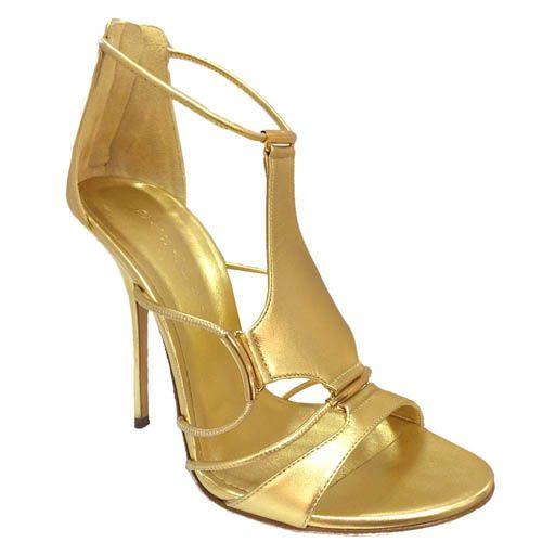 Босоножки Casadei золотистые с каблуком-шпилькой, фото