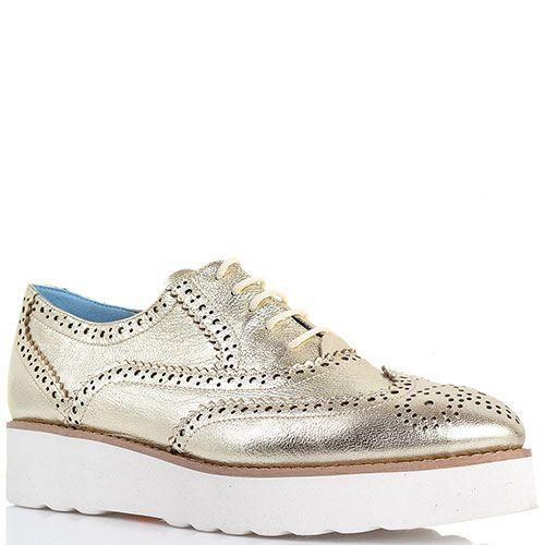 Туфли-броги золотистого цвета Massimo Santini на толстой подошве , фото