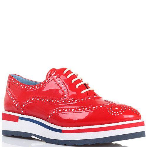 Туфли-броги красного цвета Massimo Santini на толстой подошве , фото