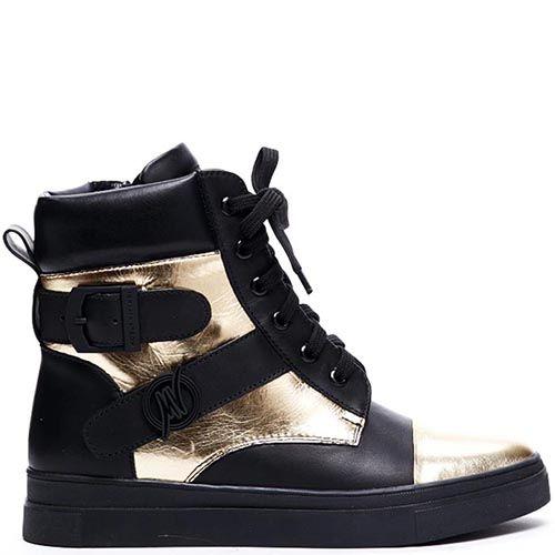 Высокие кожаные кеды черного цвета Modus Vivendi с золотистыми деталями, фото