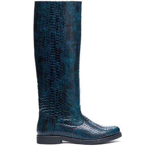Сапоги из тисненой под питона кожи Modus Vivendi синего цвета, фото