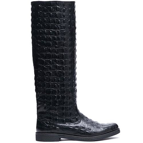 Сапоги из тисненой под крокодила кожи Modus Vivendi черного цвета, фото