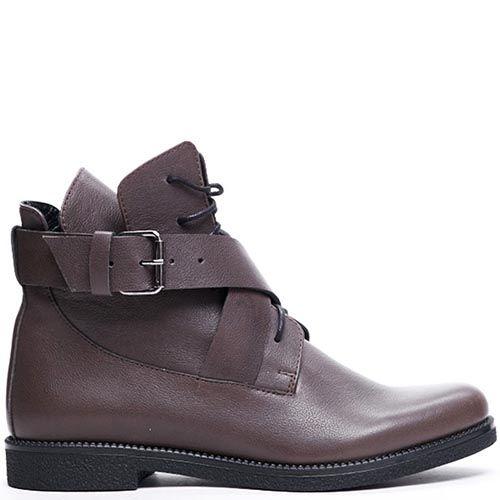 Кожаные ботинки коричневого цвета Modus Vivendi на шнуровке и ремешках, фото