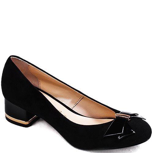 Черные замшевые туфли Modus Vivendi на низком каблуке с бантиком из лаковой кожи, фото
