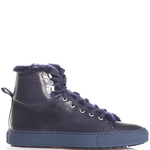 Синие ботинки Camerlengo из зернистой кожи, фото