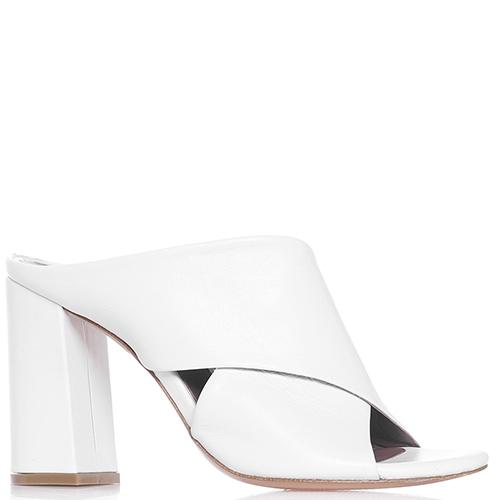 Белые мюли Albano на толстом каблуке, фото