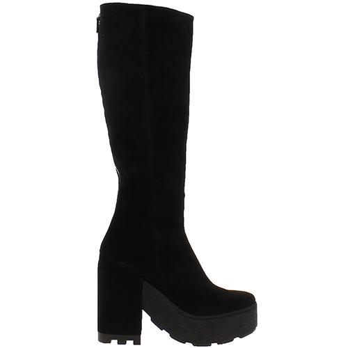 Черные замшевые сапоги Vic Matie на платформе и толстом каблуке, фото