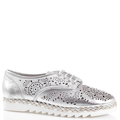Туфли с декоративной перфорацией Marzetti серебристого цвета, фото