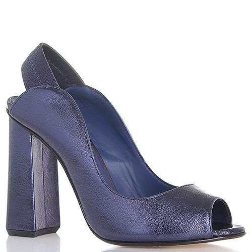 Босоножки Giancarlo Paoli синего цвета на устойчивом каблуке, фото