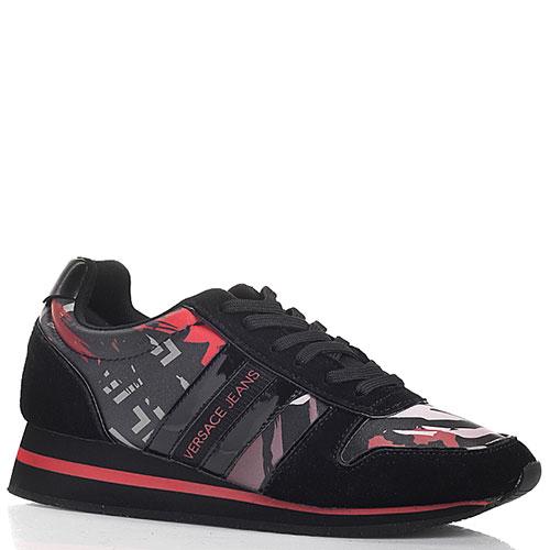 Черные кроссовки Versace Jeans с ярким принтом, фото