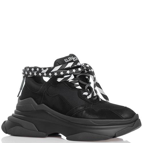Черные кроссовки Strategia на толстой рельефной подошве, фото