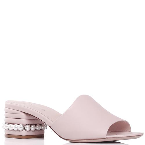 Розовые мюли Le Silla с декором-бусинами на каблуке, фото