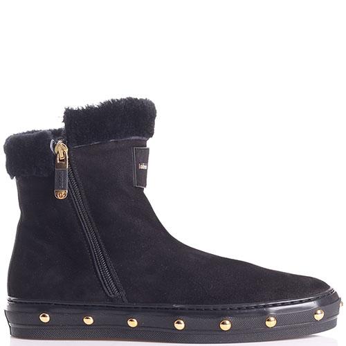 Черные ботинки Baldinini с золотистыми заклепками, фото