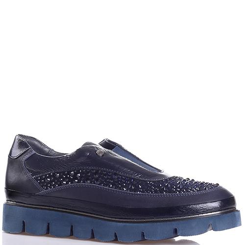 Синие туфли Lab Milano с декором-стразами, фото