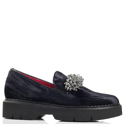 Темно-синие туфли Alberto Gozzi с декором-камнями, фото