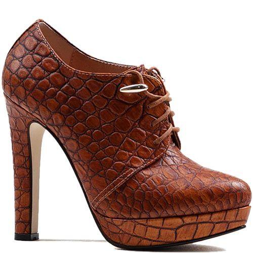 Ботильоны Modus Vivendi из кожи коричневого цвета на каблуке и скрытой платформе, фото