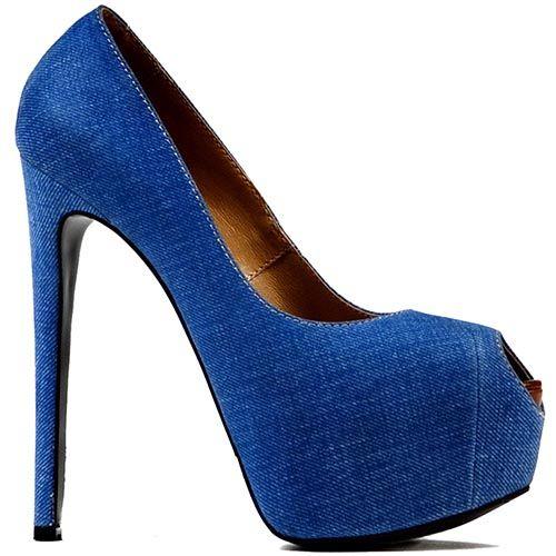 Женские туфли Modus Vivendi с открытым носком голубого цвета на шпильке и скрытой платформе, фото