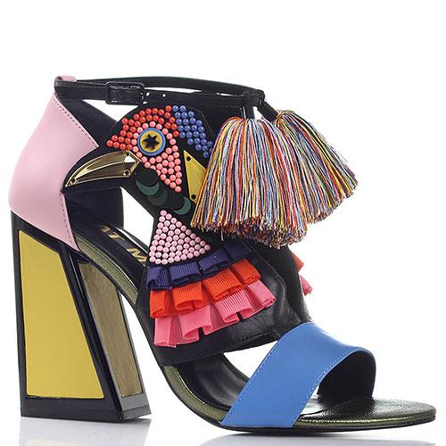 Разноцветные босоножки Kat Maconie с кисточками и аппликацией, фото