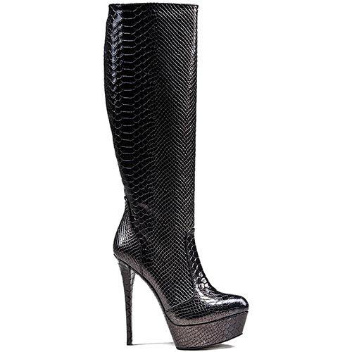 Женские демисезонные сапоги Modus Vivendi на шпильке и скрытой платформе черного цвета, фото