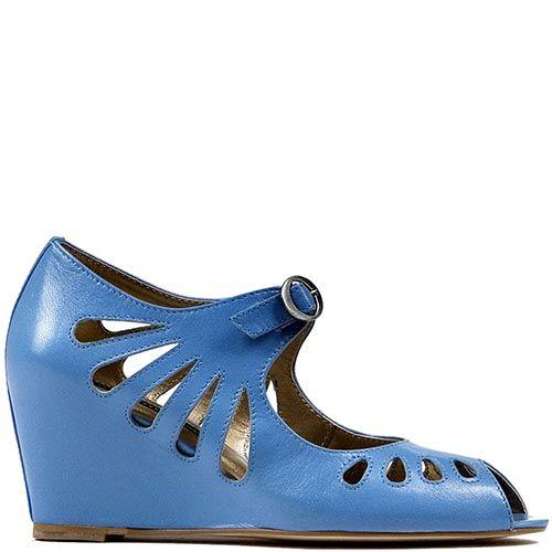 Женские туфли Modus Vivendi с открытым носком голубого цвета с резным узором, фото
